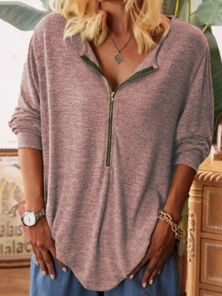 Loose-Solid-Half-zip-Long-sleeve-T-shirt
