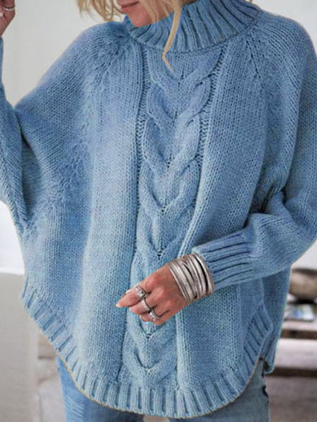 Batwing-Sleeve-Twist-Loose-Turtleneck-Sweater