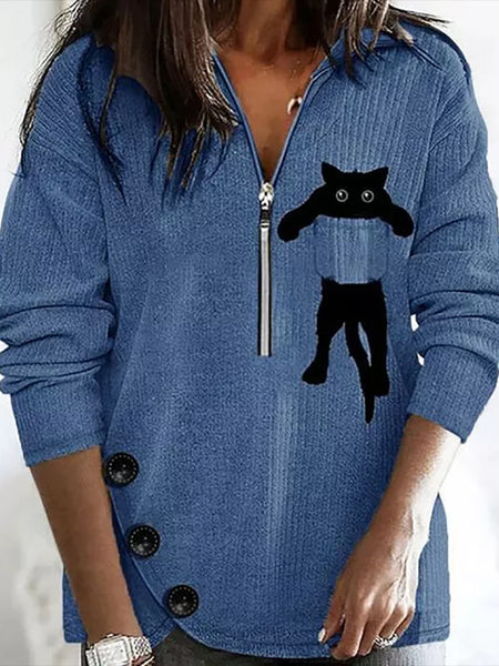 Lapel Cat Zip Long Sleeve Button T-shirt