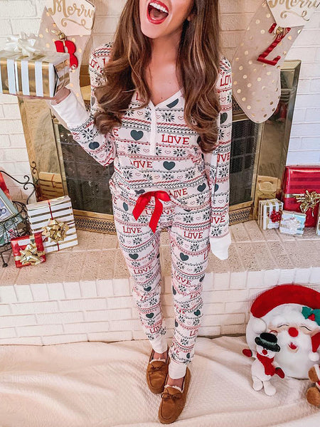 christmas-v-neck-loose-lace-up-home-wear-two-piece