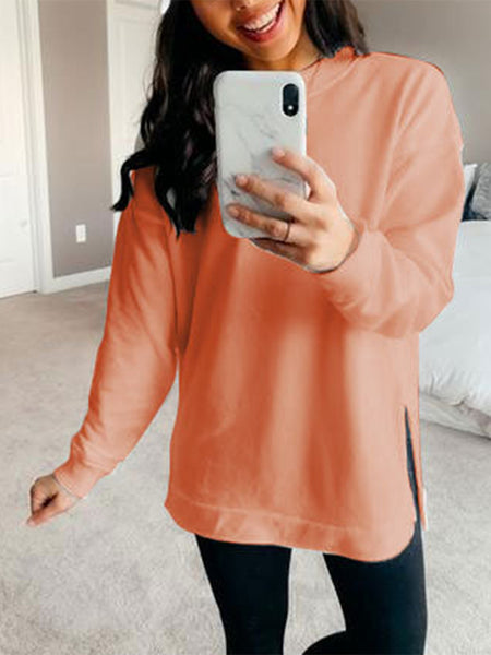 Solid-Side-Slit-Long-Sleeve-T-shirt