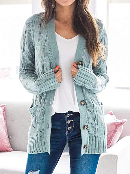 Cable-Button-Solid-Sweater-Cardigan