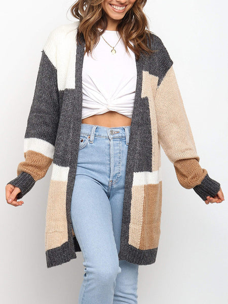 Color-Matching-Long-Sweater-Loose-Cardigan