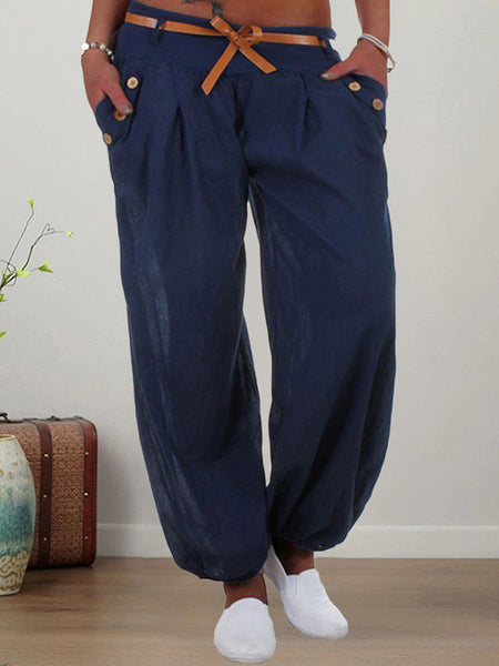 Pockets-Solid-Casual-Harem-Pants