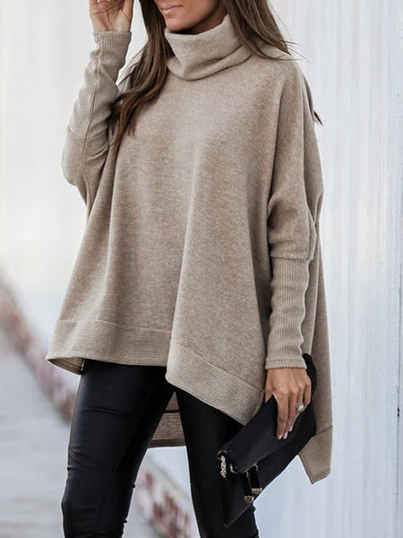 Turtleneck Bat Sleeve Side Slit T-shirt