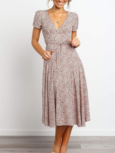 Floral-V-Neck-Belted-Dress