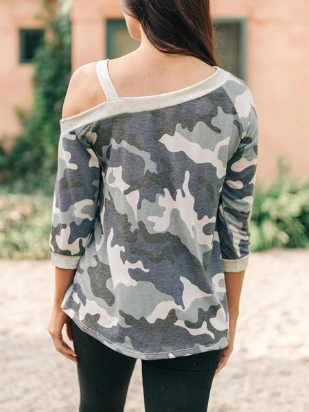 Cold Shoulder Camouflage Three-quarter Sleeve T-shirt