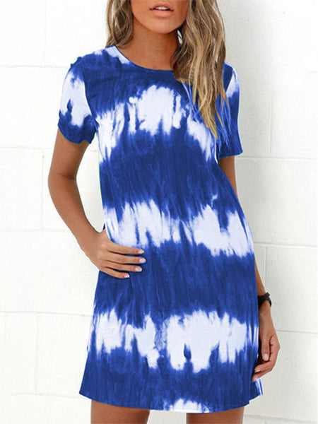 Gradient-Round-Neck-Short-Sleeve-Mini-Dress