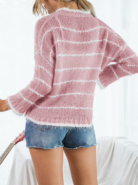 Striped-Loose-Knit-Casual-Sweater