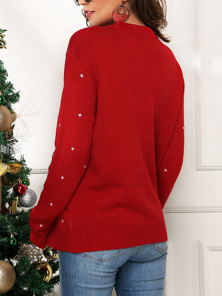 Christmas Penguin Jacquard Loose Knit Sweater