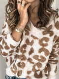 Leopard-V-neck-Casual-Crew-Neck-Sweater