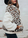 Plush-Leopard-Camouflage-Splicing-Zipper-Coat