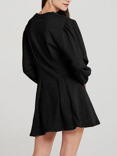 Long-Puff-Sleeve-Solid-Mini-Dress