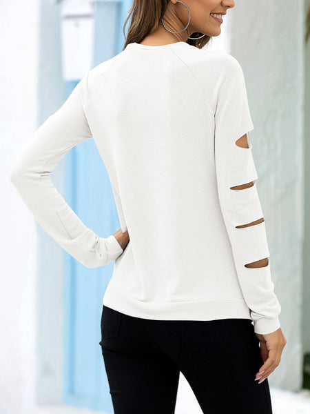 Ripped-Long-Sleeve-Solid-T-shirt