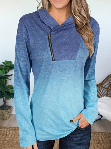 V-neck Zipper Gradient Long-sleeved T-shirt