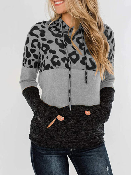 Color Matching Leopard Pocket Drawstring Hoodie