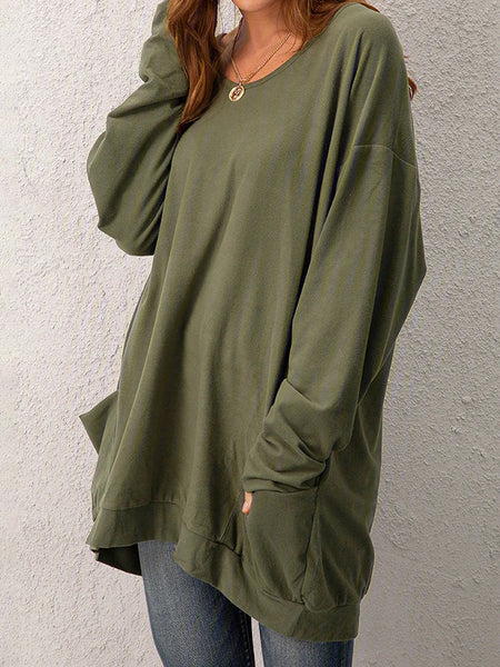 Pocket-Solid-Loose-Long-Sleeve-T-shirt