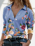 Floral-Vintage-V-neck-Long-Sleeve-T-shirt