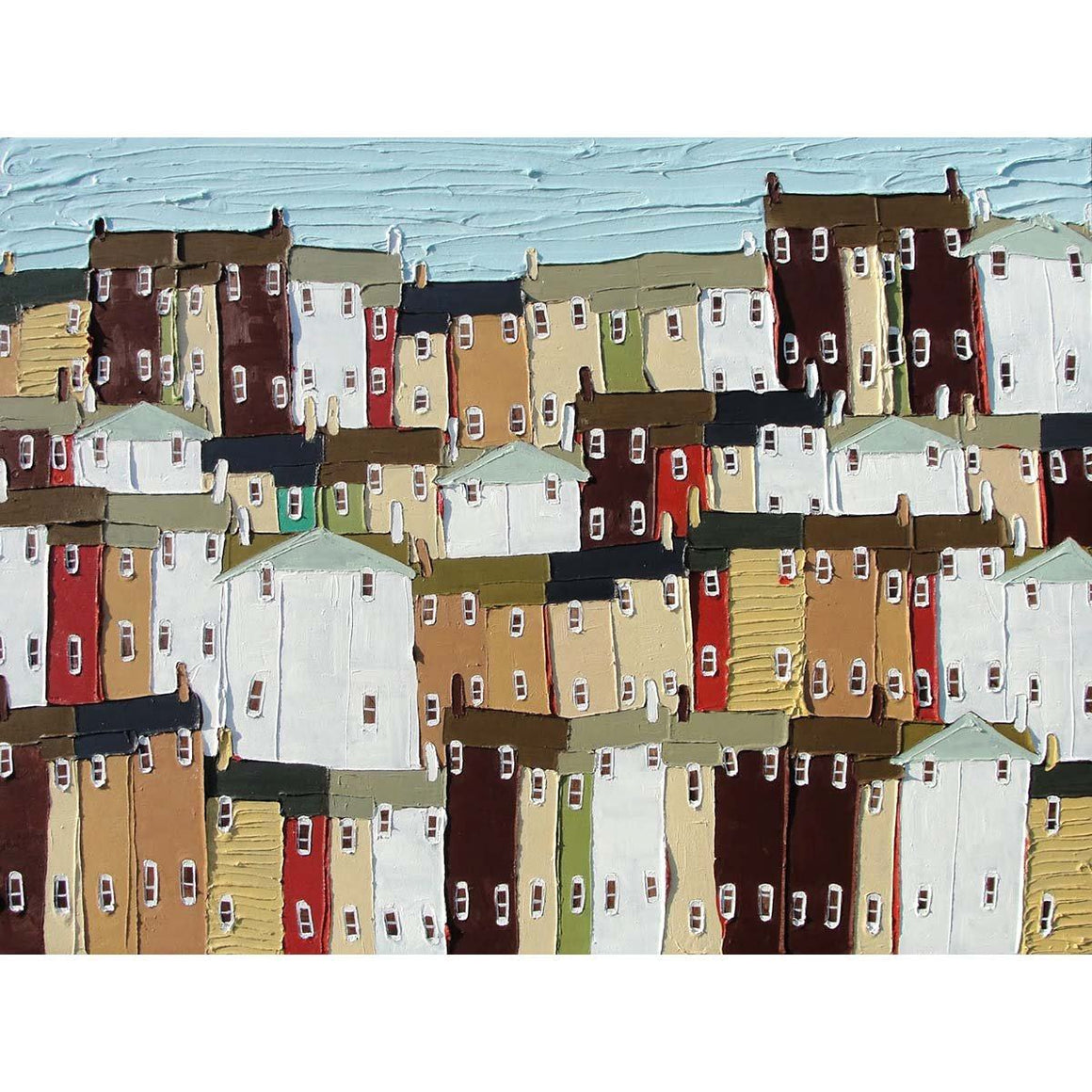 Four Yellow Houses - Jennifer Harrison - Yard Dog Art