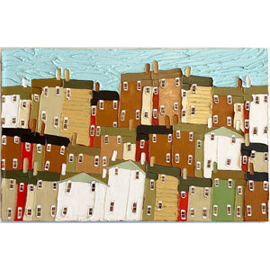 Three Yellow Houses - Jennifer Harrison - Yard Dog Art