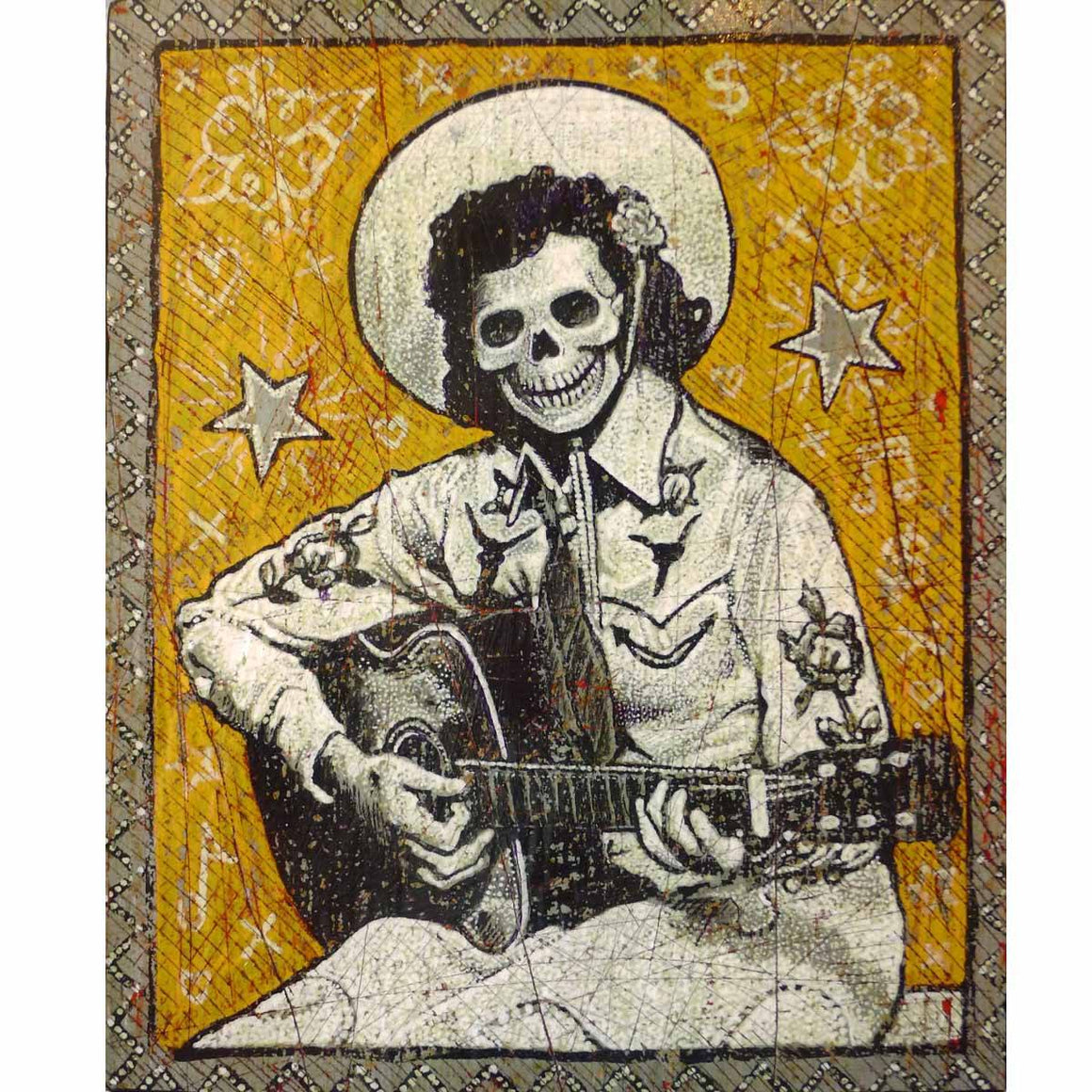 Golden Skullgirl Guitarist - Jon Langford - Yard Dog Art