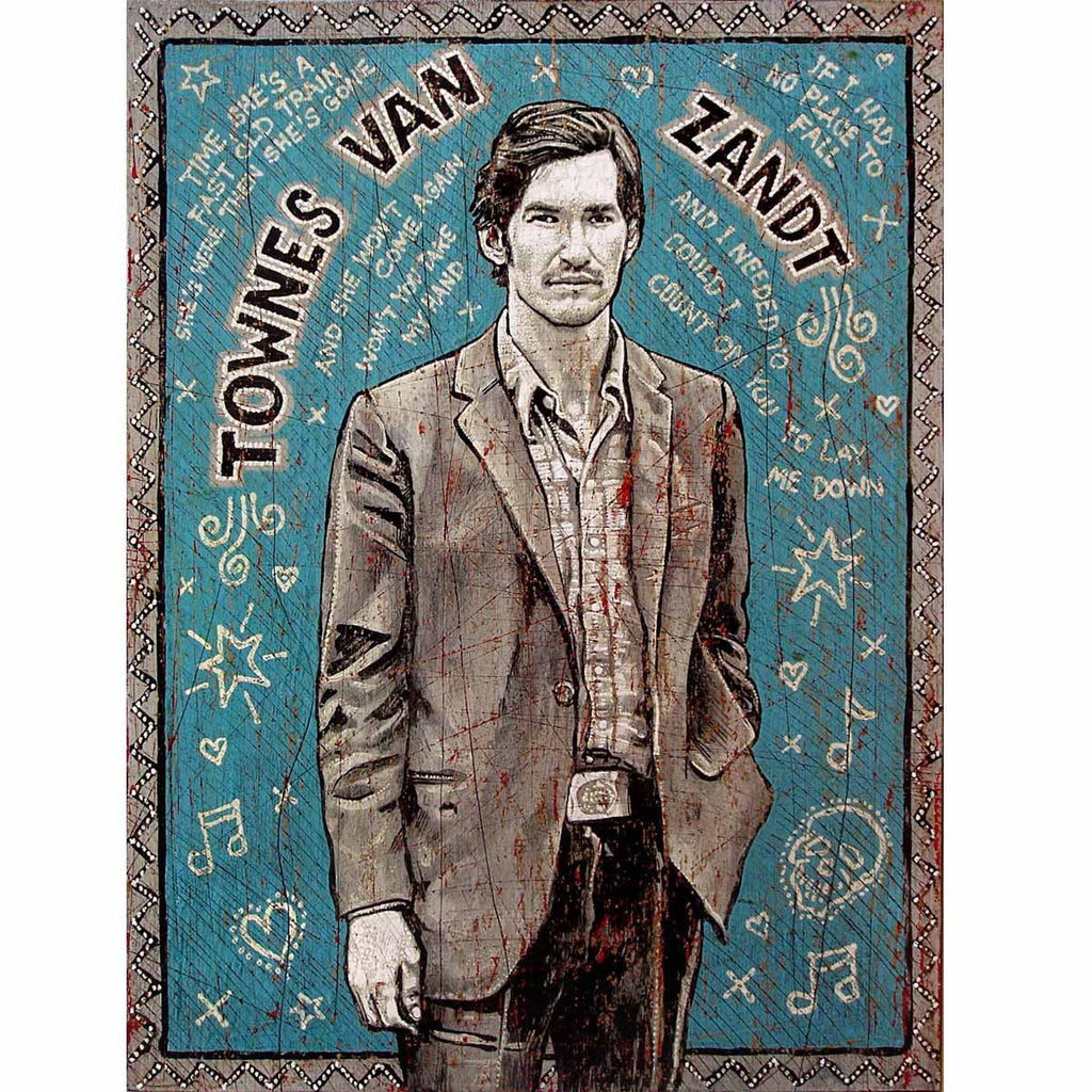 Townes Van Zandt - Tall - Jon Langford - Yard Dog Art