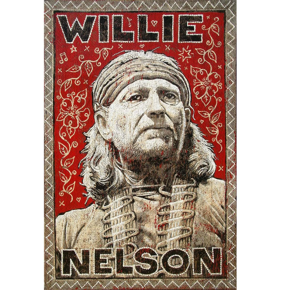 Willie Nelson (Red) - Jon Langford - Yard Dog Art