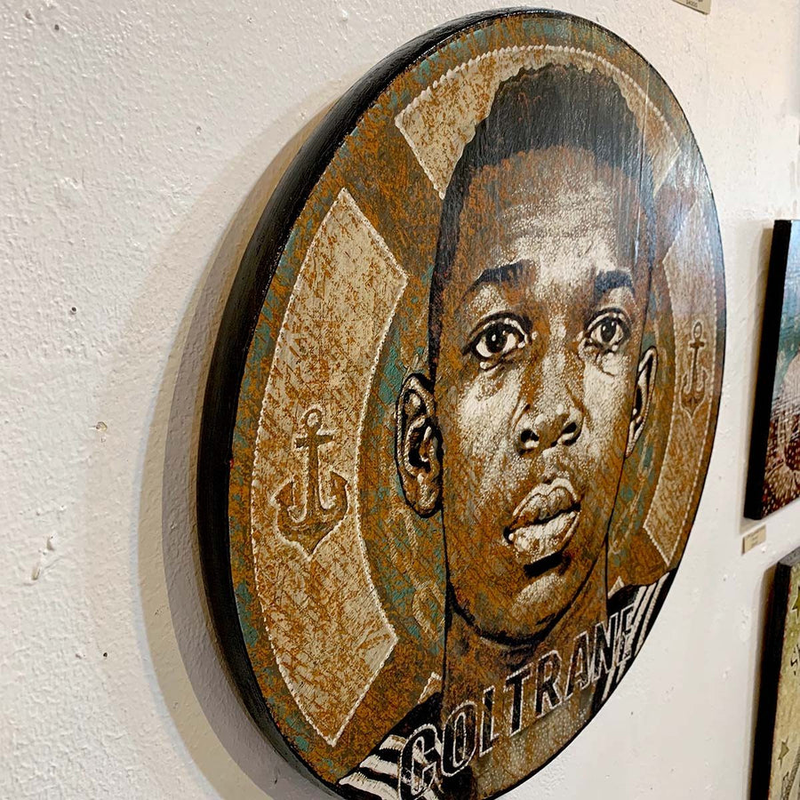 John Coltrane - Round - Jon Langford - Yard Dog Art