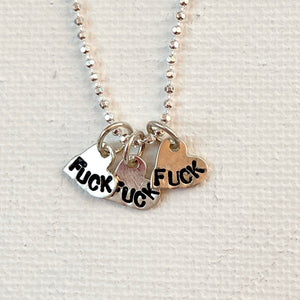 "Cluster Fuck - Tiny Silver  Angry Hearts Necklace - 18"" Chain"