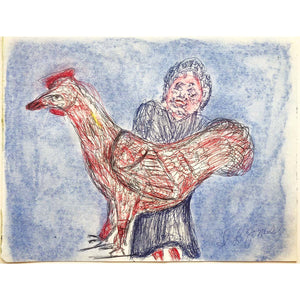 Rooster & Woman - S.L. Jones - Yard Dog Art