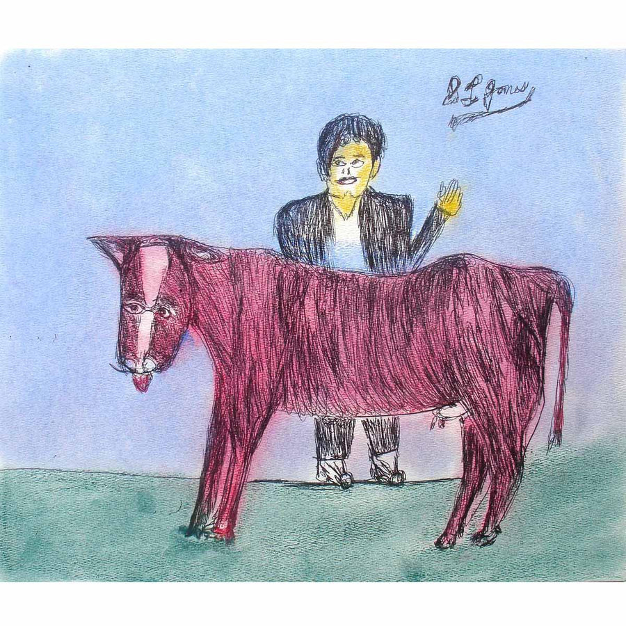Man With Red Cow - S.L. Jones - Yard Dog Art