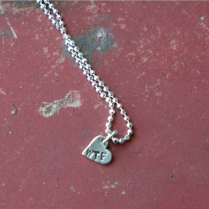"WTF Angry Heart Tiny Silver Necklace - 16"" chain - Margaret Sullivan - Yard Dog Art"