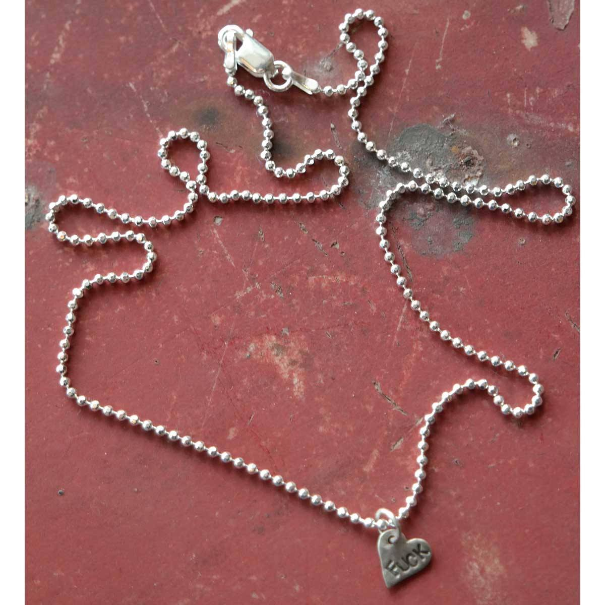 "Fuck - Angry Heart Tiny Silver Necklace - 16"" Chain - Margaret Sullivan - Yard Dog Art"