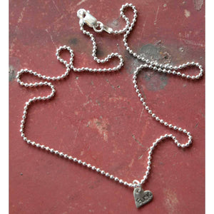 "Fuck - Angry Heart Tiny Silver Necklace - 18"" Chain - Margaret Sullivan - Yard Dog Art"