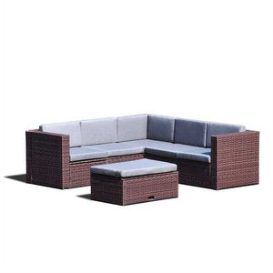 Brown Resin Wicker 4-Piece Outdoor Patio Furniture Set with Grey Cushions