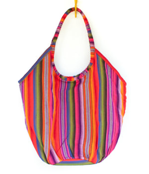 Emiluna Beach Bag. Guatemalan Mayan textile. Oversized summer bag