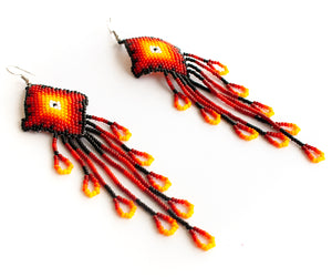 Fire Huichol Earrings