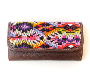 Emiluna Alma Flip wallet. Chocloate leather, Guatemalan Mayan Huipil.