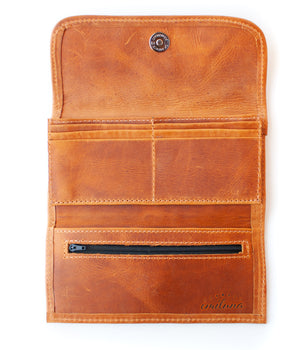 Interior Emiluna Alma Wallet. Tan leather, card slots, change zipper, snap closure