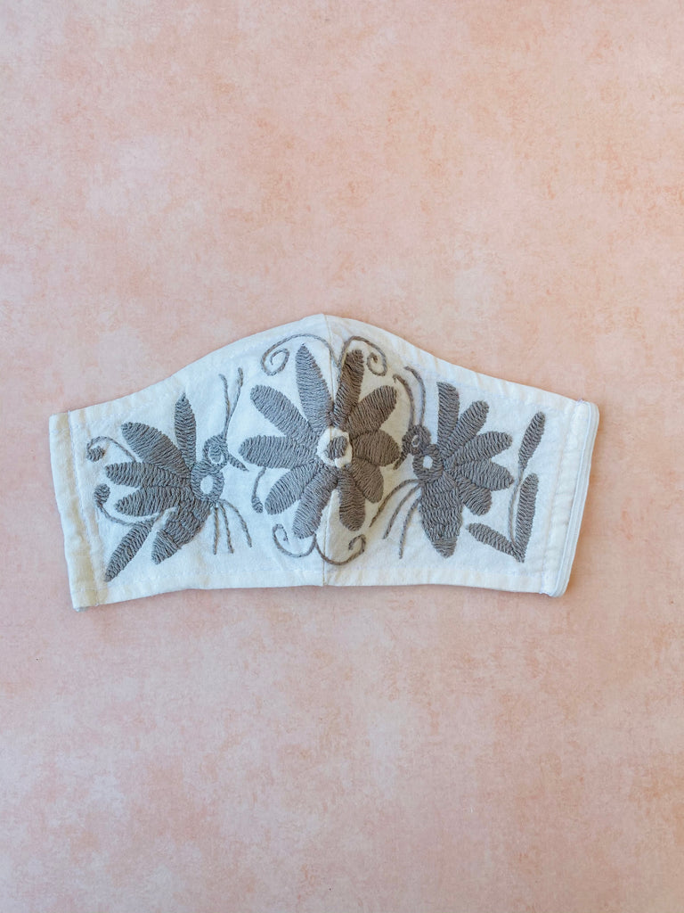 Cream Otomi Face Mask #43