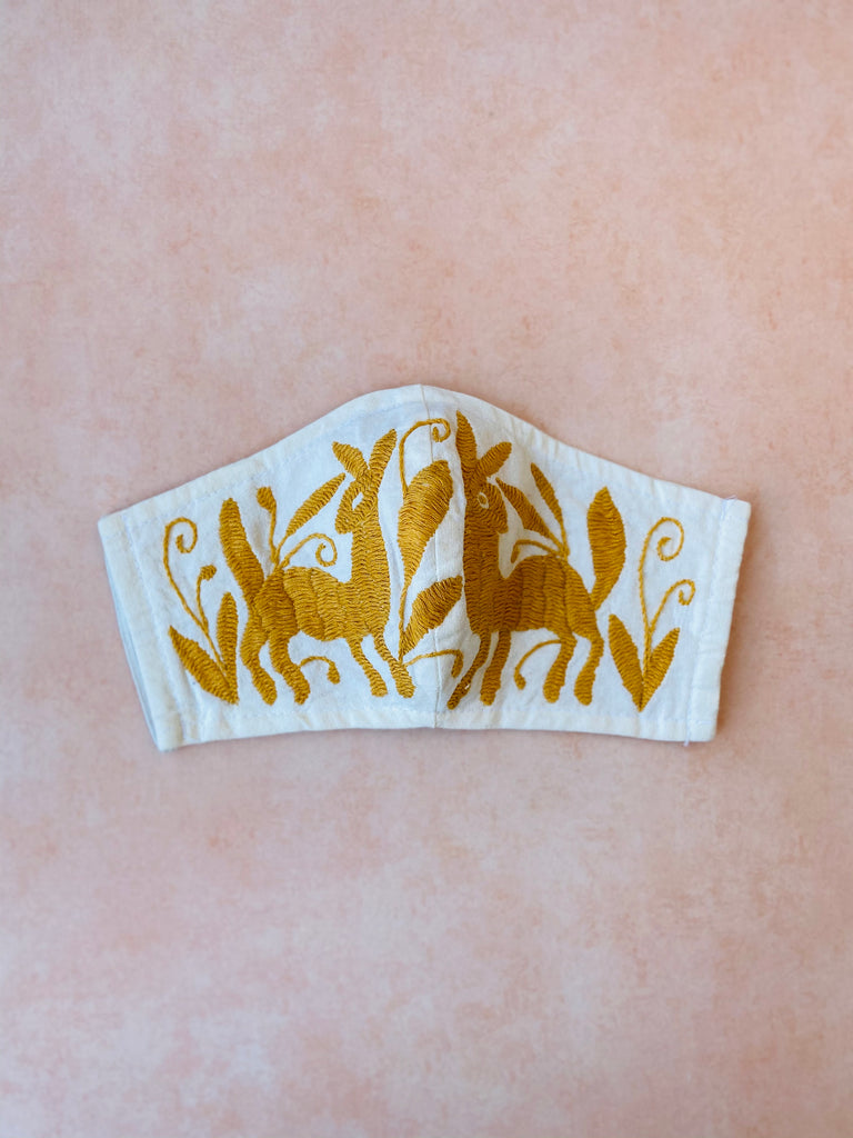 Cream Otomi Face Mask #50