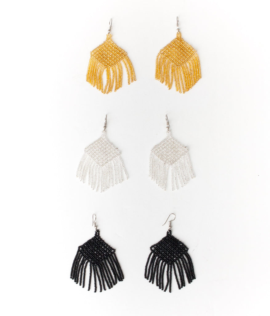 Huichol Rhombus Fringe Earrings