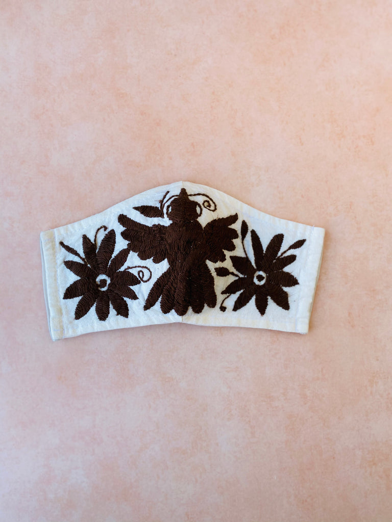 Cream Otomi Face Mask #107