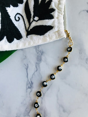 Black Evil Eye Mask Necklace