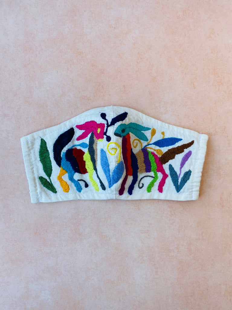 Cream Otomi Face Mask #83