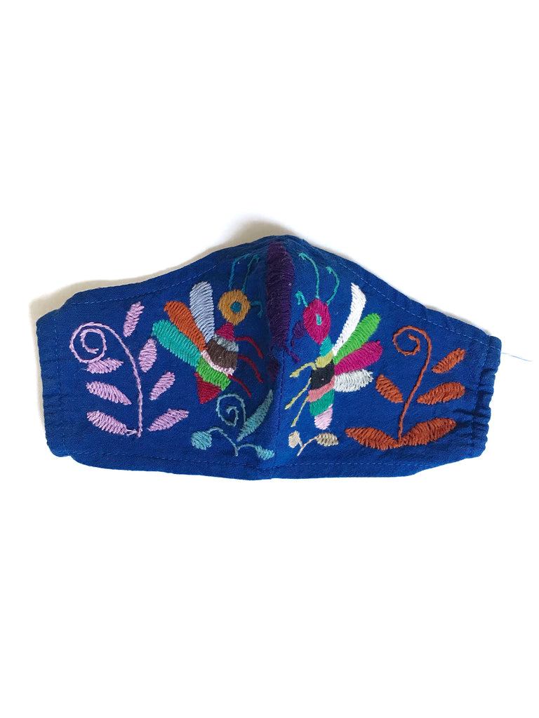 Cobalt Blue Otomi Face Mask