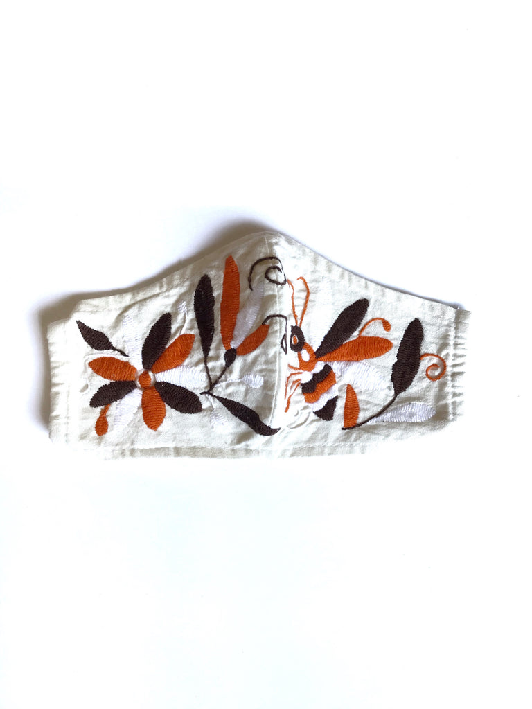 Cream Otomi Face Mask