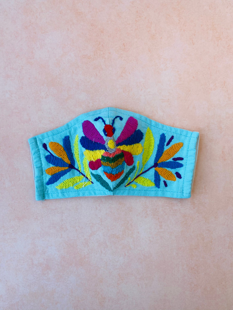 Light Blue Otomi Face Mask #35