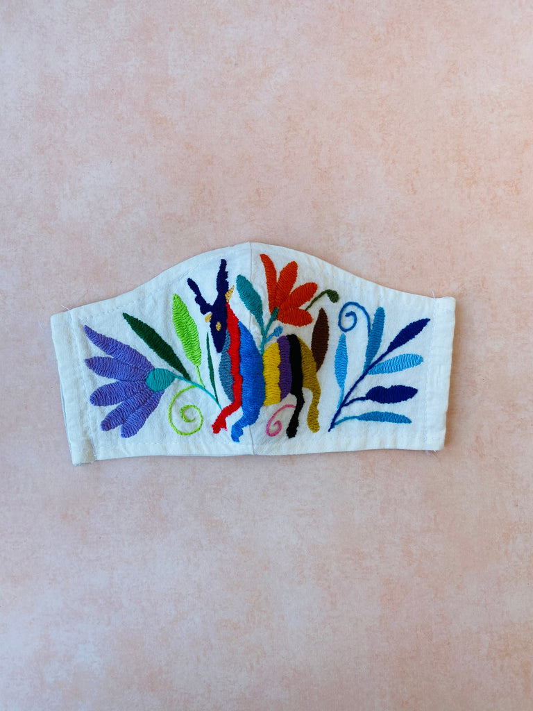 Cream Otomi Face Mask #82