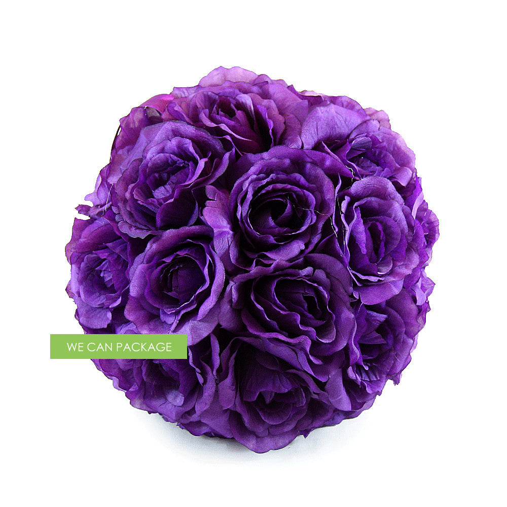 10 Inches Dark Purple Rose Ball Wedding Kissing Ball